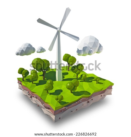 Illustration of a wind turbine in nature. - stock photo