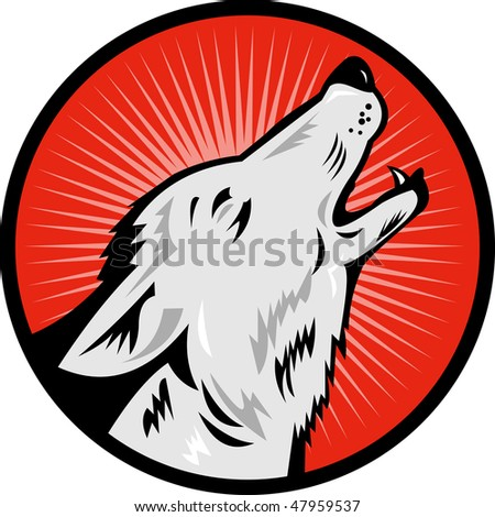 illustration of a wolf howling side view - stock photo