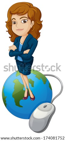 Illustration of a woman above the globe with a computer mouse on a white background - stock photo
