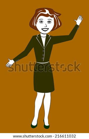 Illustration of a Woman in a Business Dress - stock photo