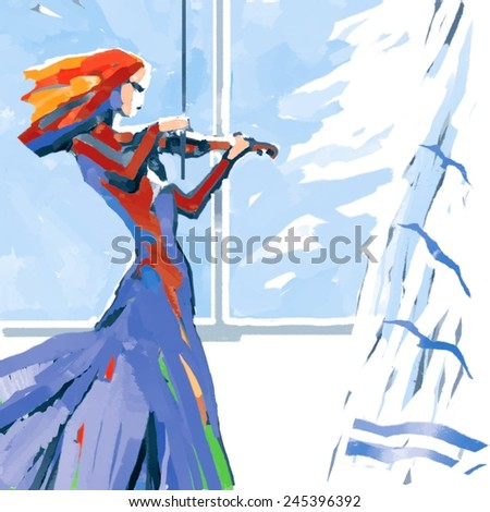 Illustration of a Woman Playing the Violin - stock photo