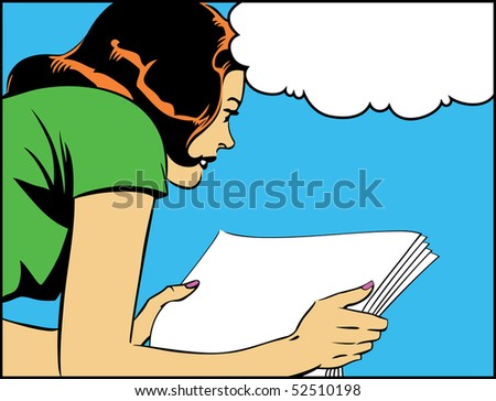 Illustration of a woman reading in a pop art/comic style - stock photo