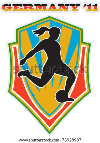 illustration of a woman soccer player kicking the ball set inside shield with words Germany 11