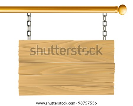 Illustration of a wooden sign hanging suspended from a brass metal pole