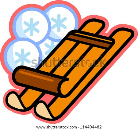Illustration of a wooden sled and snowflakes - stock photo