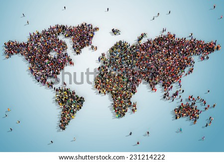 Illustration of a world map drawn out with realistic people seen from above on bluish background