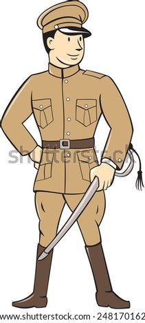 Illustration of a World War one British officer soldier serviceman standing facing front with sword on isolated white background  done in cartoon style. - stock photo