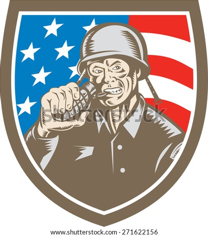 Illustration of a World War two American soldier serviceman biting grenade viewed from front inside shield crest with usa american stars and stripes flag the background done in retro woodcut style.  - stock photo