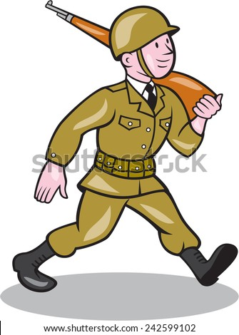 Illustration of a World War two American soldier serviceman marching with assault rifle viewed from side on isolated white background  done in cartoon style. - stock photo