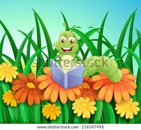 Illustration of a worm reading a book at the garden - stock photo