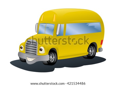 illustration of a yellow bus on isolated white background - stock photo