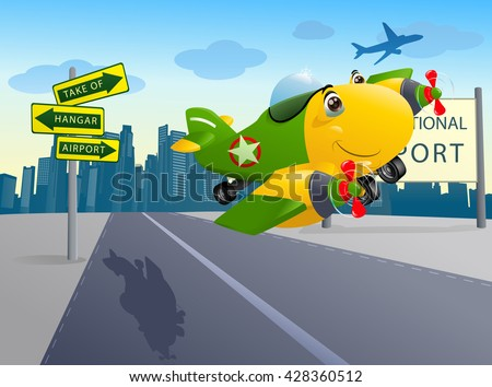 illustration of a yellow commercial plane double engine flying away to destination on airport background - stock photo