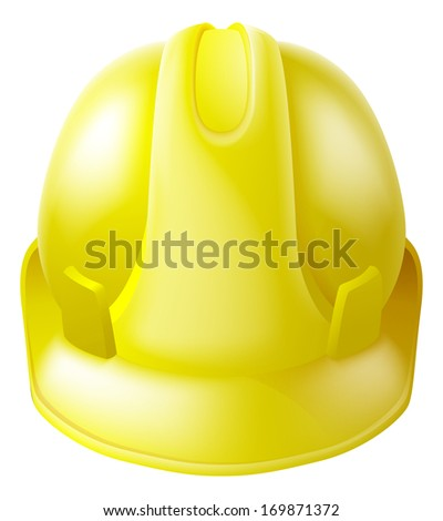 Illustration of a yellow hard hat safety helmet like those worn by construction workers - stock photo