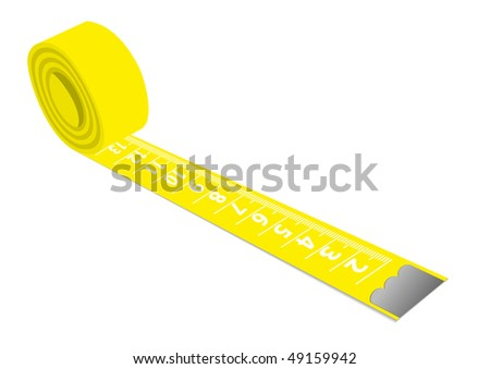 Illustration of a yellow measuring tape isolated on white background - stock photo