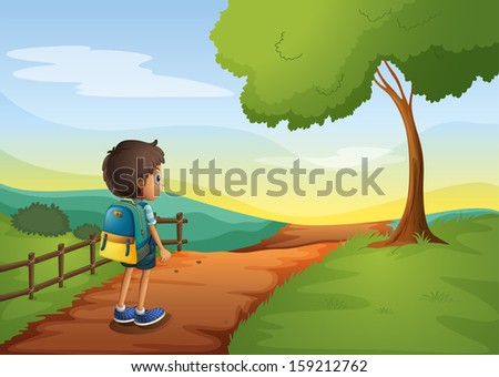 Illustration of a young boy going to the school