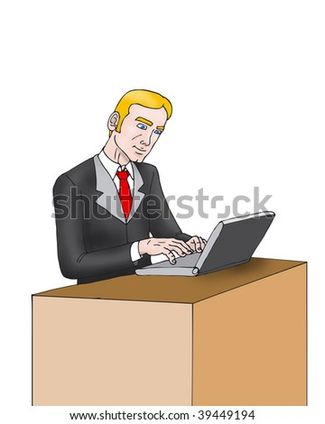 illustration of a young Business man opening his laptop at the beginning of the day
