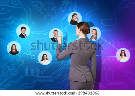 illustration of a young caucasian businesswoman sorting her social network of friends and clients. - stock photo
