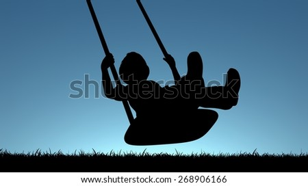 Illustration of a young child playing on a swing - stock photo