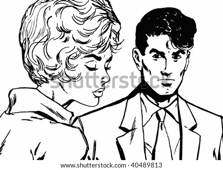 Illustration of a young couple in love - stock photo