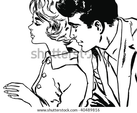 Illustration of a young couple in love
