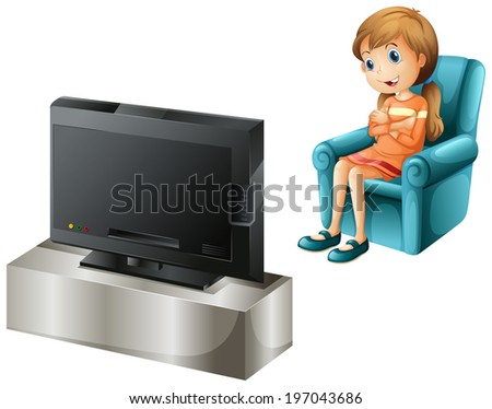 Illustration of a young girl watching TV happily on a white background