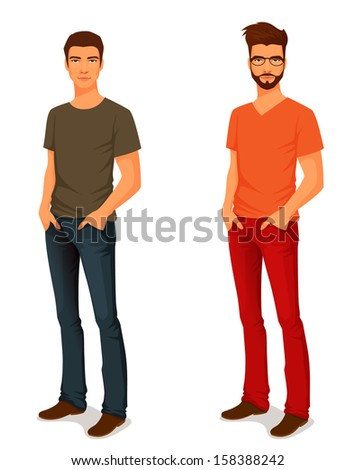 illustration of a young handsome man in casual clothes or more eccentric hipster fashion - stock photo