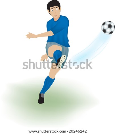 Illustration of a young man kicking a soccer ball