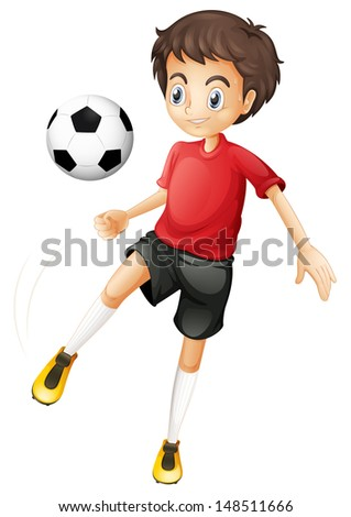 Illustration of a young man playing football on a white background - stock photo