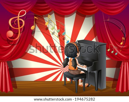 Illustration of a young pianist - stock photo