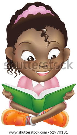 Illustration of a young sweet black girl child happily reading a book - stock photo