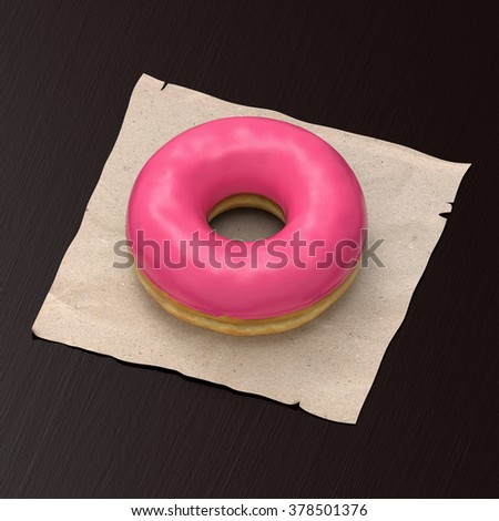 Illustration of a yummy donut with pink glazing on a paper napkin and wooden background