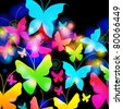 Illustration of abstract, beautiful, colorful floral romantic background with butterflies - stock photo
