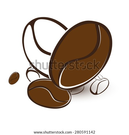 Illustration of Abstract Coffee Bean Heart Over White Background - stock photo
