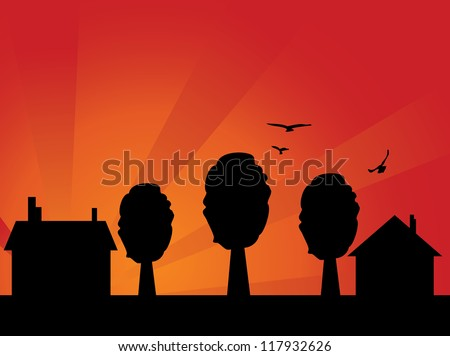 Illustration of abstract house silhouette with sunset sky background. - stock photo