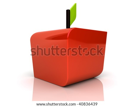 Illustration of abstract red apple on reflected - stock photo