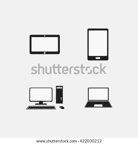 Illustration of adaptive web design on different electronic devices - stock photo
