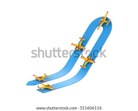 Illustration of aerobatics turn on the top with yellow airplane model over blue arrow on white background - stock photo