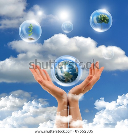 Illustration of air bubbles with green plant inside as symbol of nature protection - stock photo