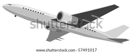 Illustration of airplane. Vector version is available. - stock photo