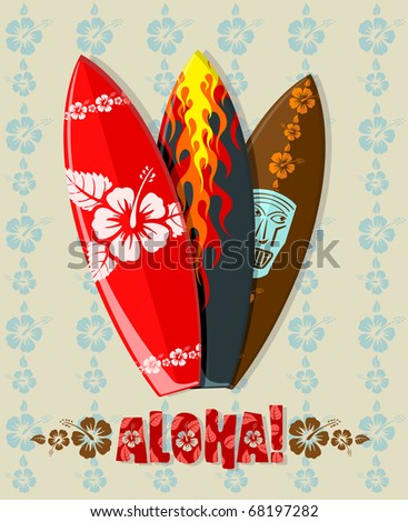 Illustration of aloha surf boards - stock photo