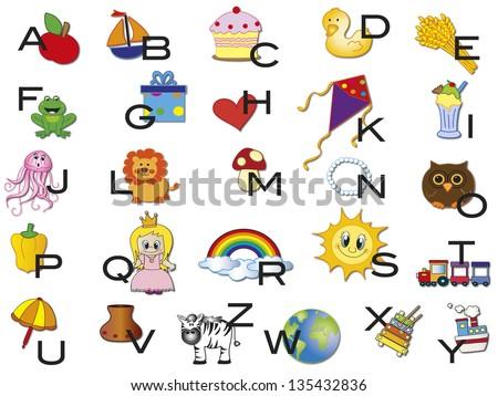 illustration of alphabet with symbols - stock photo