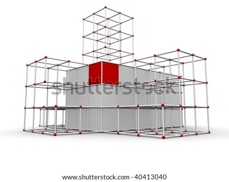 Illustration of an abstract building structure - 3d render