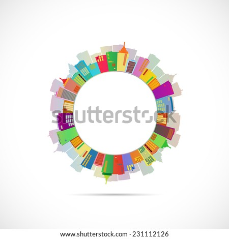 Illustration of an abstract city design isolated on a white background. - stock photo