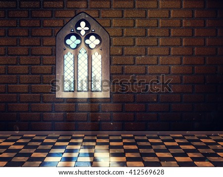 Illustration Of An Abstract Grunge Interior With Gothic Window Fake 3D Not