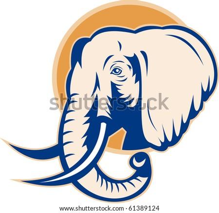 illustration of an african bull elephant head retro style - stock photo