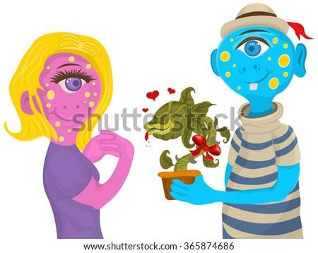 Illustration of an alien female monster receiving a plant - raster version - stock photo