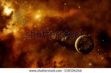 Illustration of an alien inhabited planet in space with two moons inside a nebula - stock photo