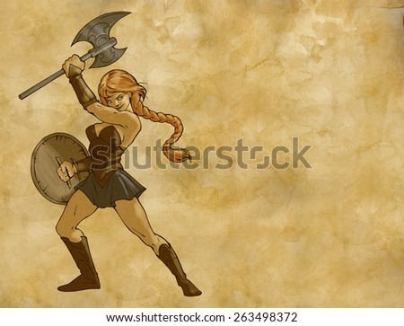 Illustration of an amazon woman with a sword and a shield on the paper textured background