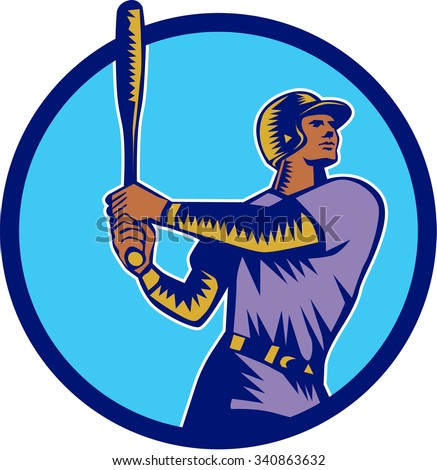Illustration of an american baseball player batter hitter holding bat batting looking up to the side set inside circle on isolated background done in retro woodcut style.  - stock photo