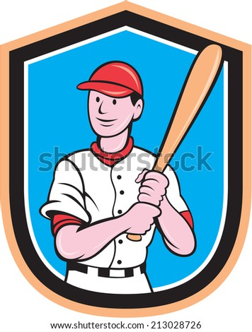 Illustration of an american baseball player standing holding bat set inside shield crest on isolated background done in cartoon style.